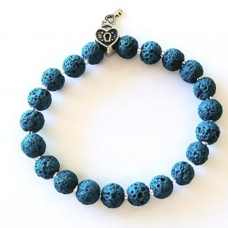 Turquoise Lava Bead Bracelet with Heart & Key