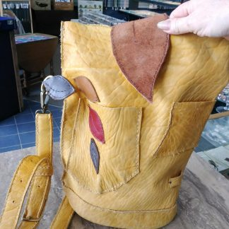Buffalo Hide Leather Purse Shoulder Bag with Leaves