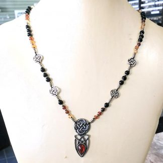 Hessonite Garnet, Onyx and Amber Necklace