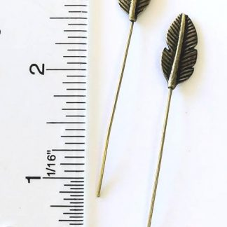 Antique Brass Feather Headpin Pkg of 4